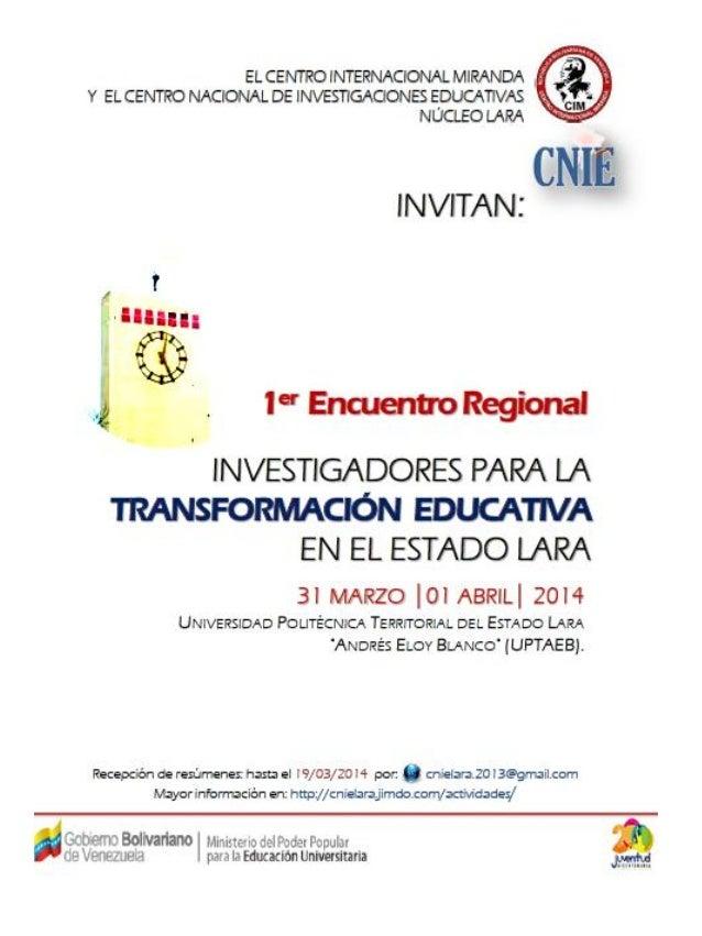 I Encuentro Regional de Investigadores para la Transformación Educativa -  Estado Lara