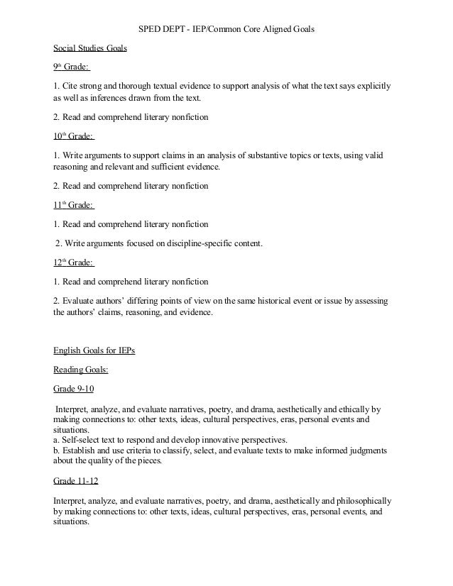 SPED DEPT - IEP/Common Core Aligned GoalsSocial Studies Goals9thGrade:1. Cite strong and thorough textual evidence to supp...