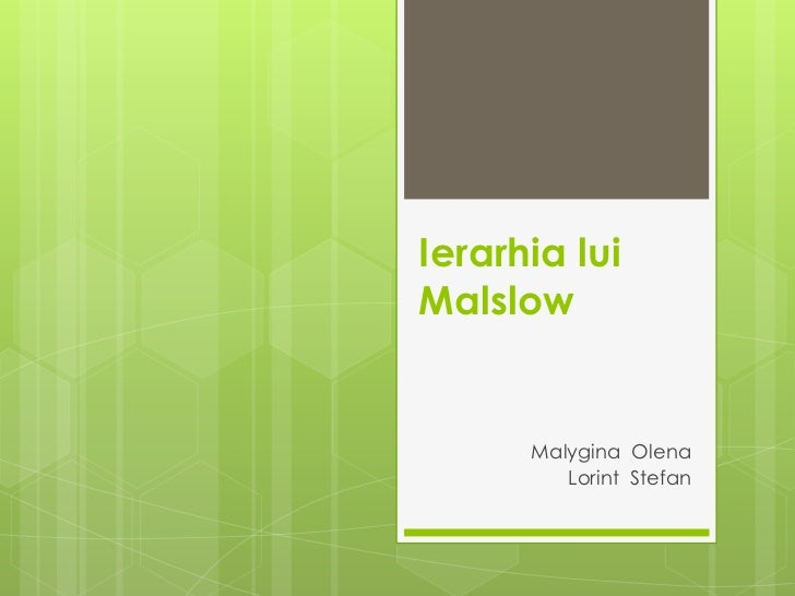 Ierarhia luiMalslow      Malygina Olena         Lorint Stefan