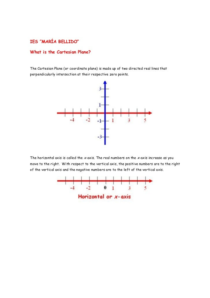 """IES """"MARÍA BELLIDO""""What is the Cartesian Plane?The Cartesian Plane (or coordinate plane) is made up of two directed real l..."""