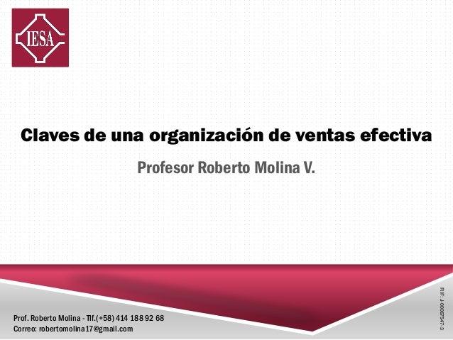 Claves de una organización de ventas efectiva Profesor Roberto Molina V. RIF:J-00067547-3 Prof. Roberto Molina - Tlf.(+58)...