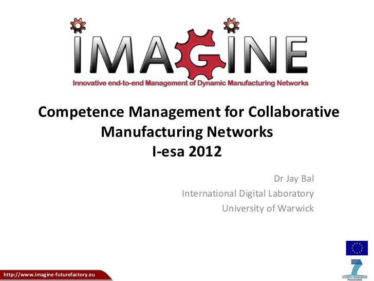 Competence Management for Collaborative                    Manufacturing Networks                          I-esa 2012     ...