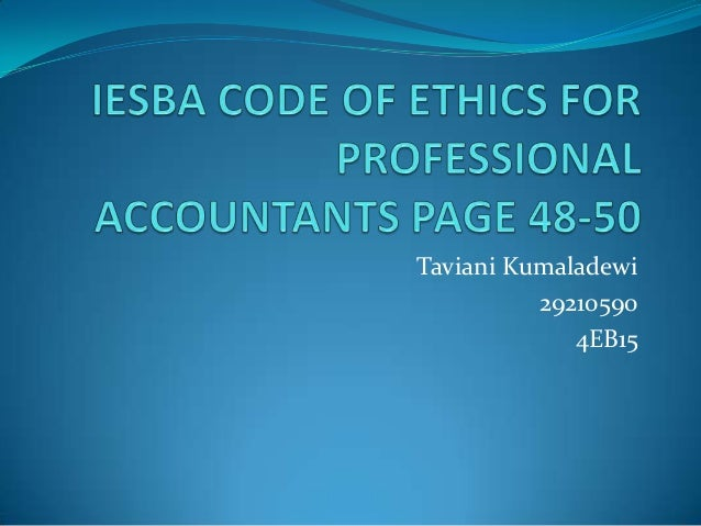 Iesba code of ethics for professional accountants page vina