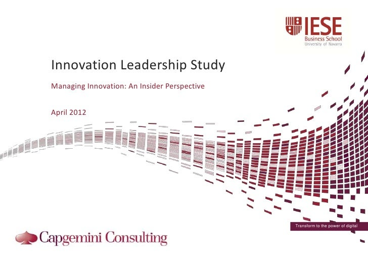 Iese ccinnovationleadershipstudydiscussiondeck20120402-120402063550-phpapp01