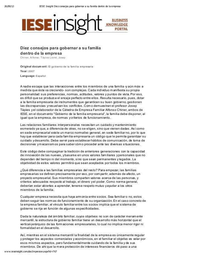 26/09/12 IESE Insight Diez consejos para gobernar a su familia dentro de la empresa www.ieseinsight.com/docImpresion.aspx?...