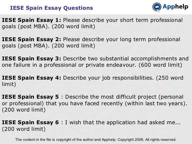 IESE Spain essays