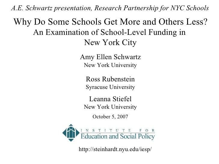 Amy Ellen Schwartz New York University Ross Rubenstein Syracuse University Leanna Stiefel New York University  October 5,...