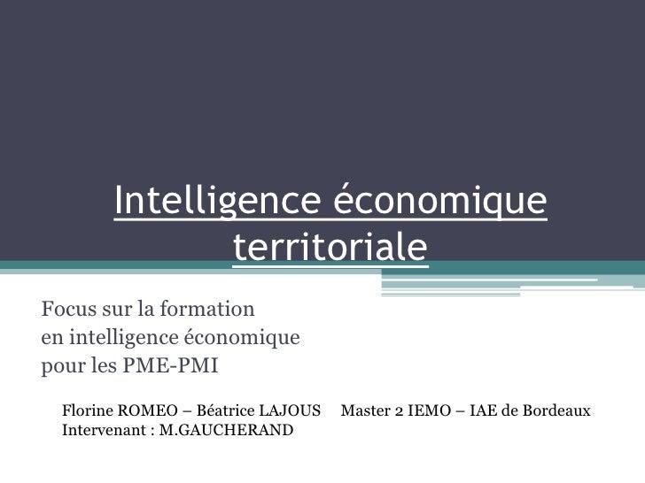 Intelligence économique territoriale<br />Focus sur la formation <br />en intelligence économique <br />pour les PME-PMI <...