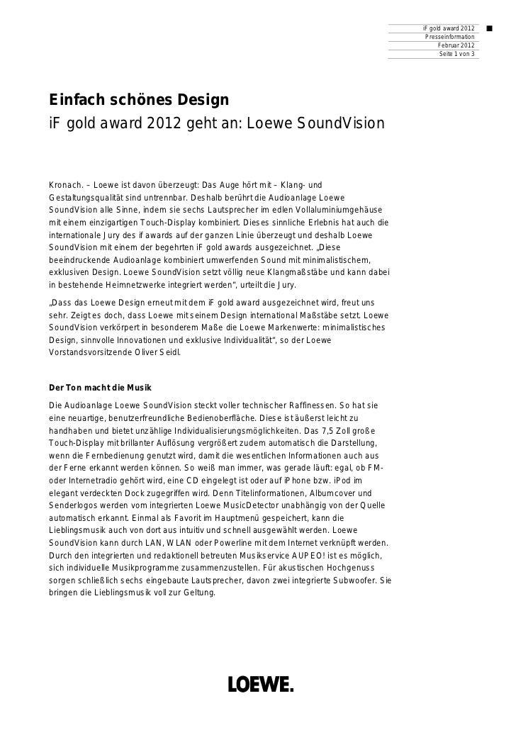 iF gold award 2012                                                                                            Presseinform...