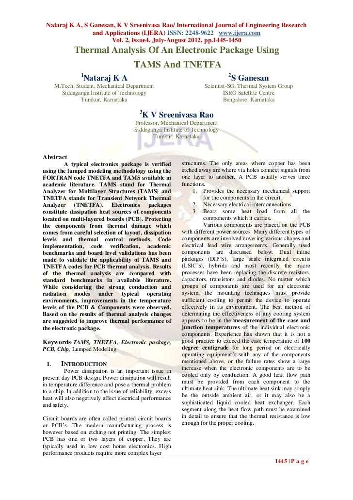 Nataraj K A, S Ganesan, K V Sreenivasa Rao/ International Journal of Engineering Research                 and Applications...