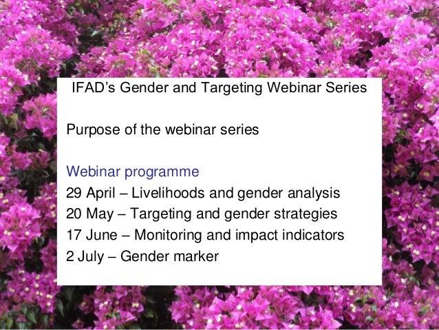 IFAD's Gender and Targeting Webinar Series - Monitoring and impact indicators