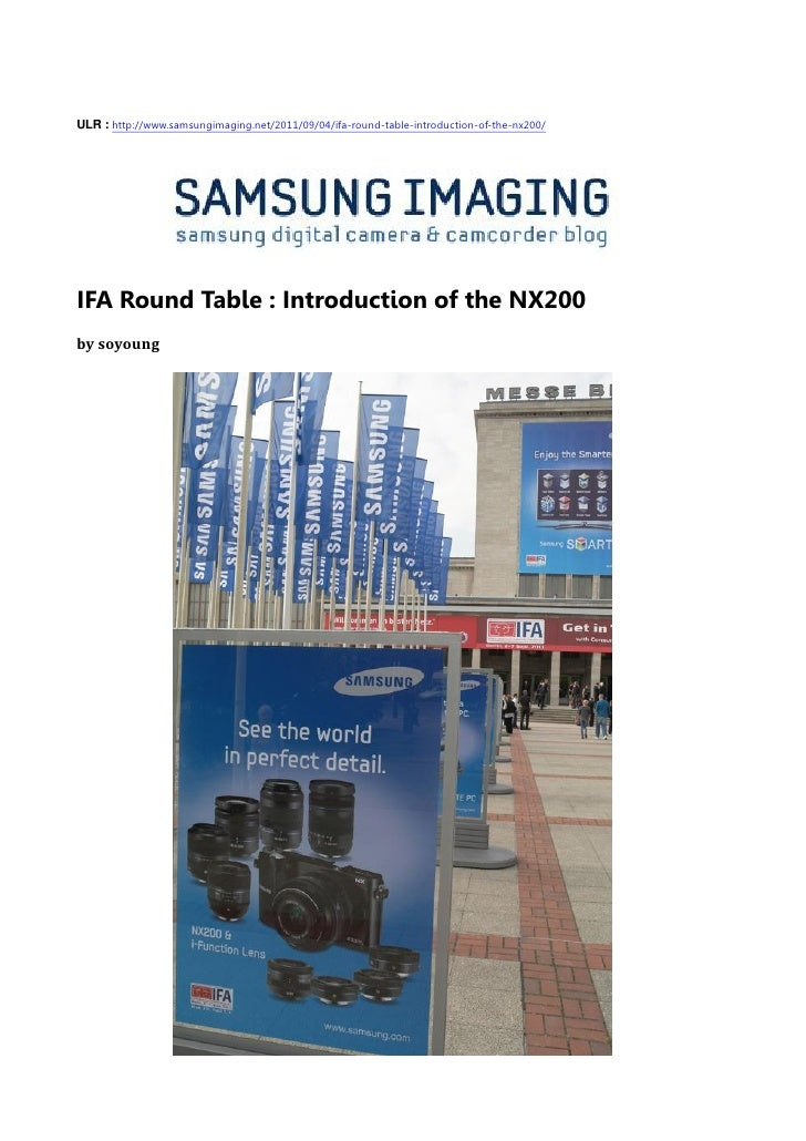 IFA Round Table : Introduction of the NX200