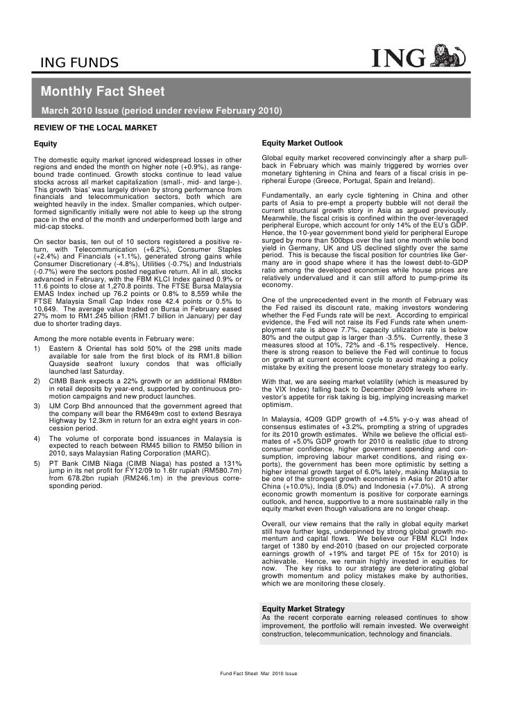 ING FUNDS    Monthly Fact Sheet   March 2010 Issue (period under review February 2010) REVIEW OF THE LOCAL MARKET  Equity ...