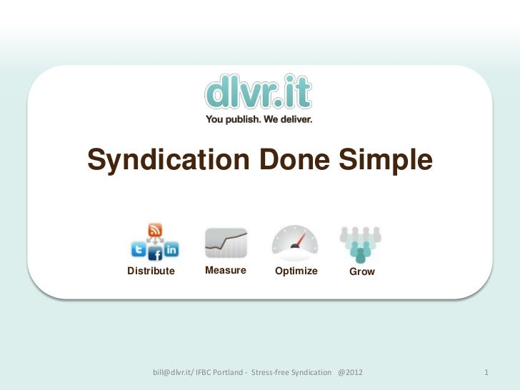 Syndication Done Simple  Distribute         Measure             Optimize             Grow       bill@dlvr.it/ IFBC Portlan...