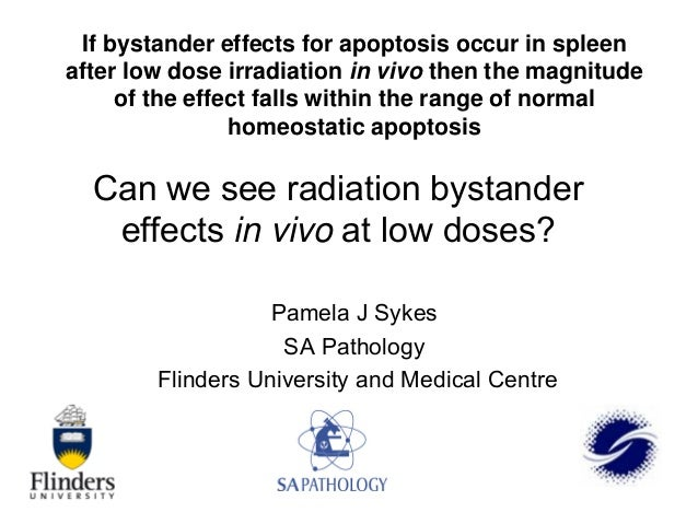 If bystander effects for apoptosis occur in spleen after low dose irradiation in vivo then the magnitude of the effect fal...