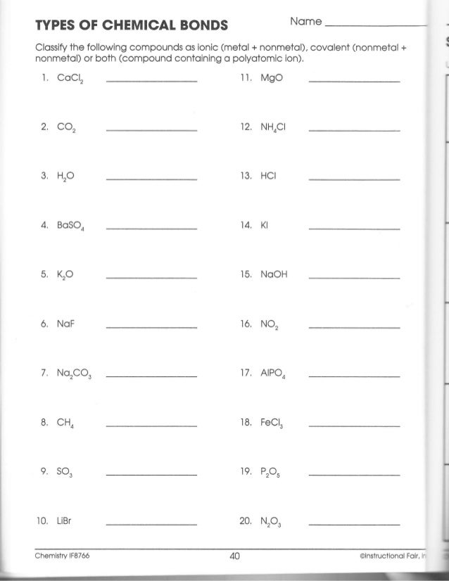 Types Of Chemical Bonds Worksheet - Davezan