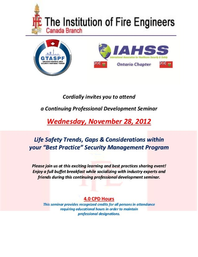 IFE Canada & GTASPF November 28 - 2012 - Life Safety Trends - Gaps & Best Practices within Security