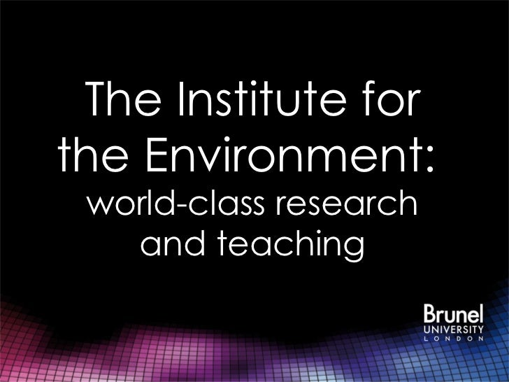 The Institute forthe Environment: world-class research   and teaching