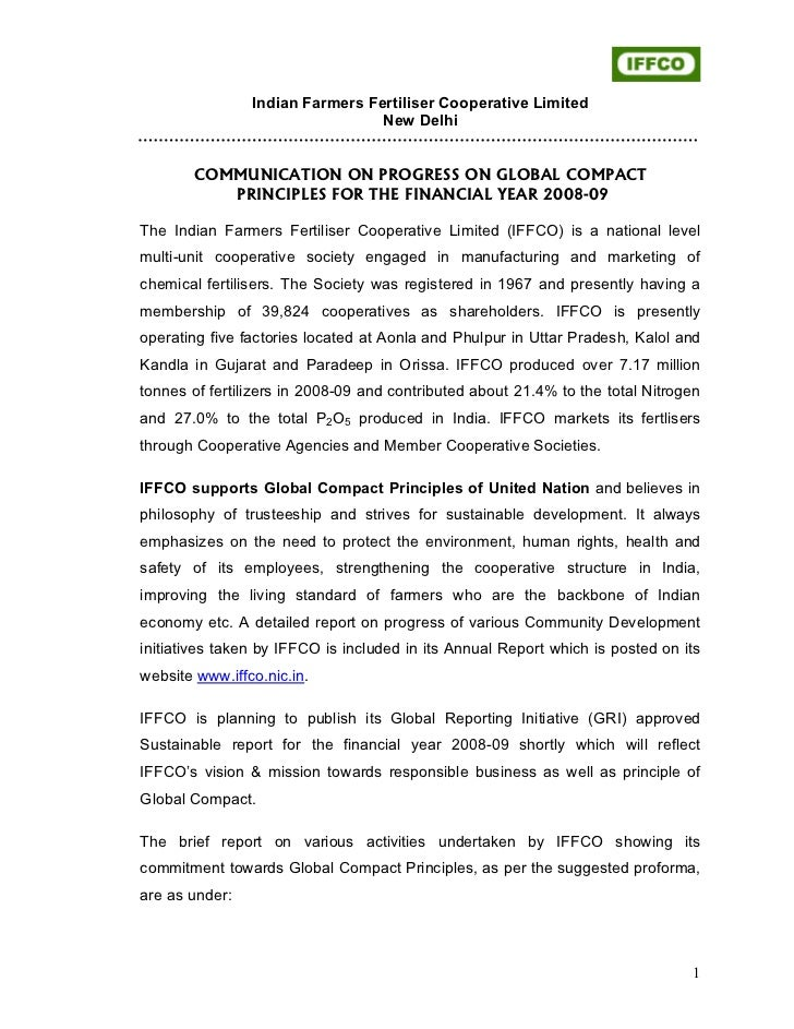 Iffco cop global compact_2008-09