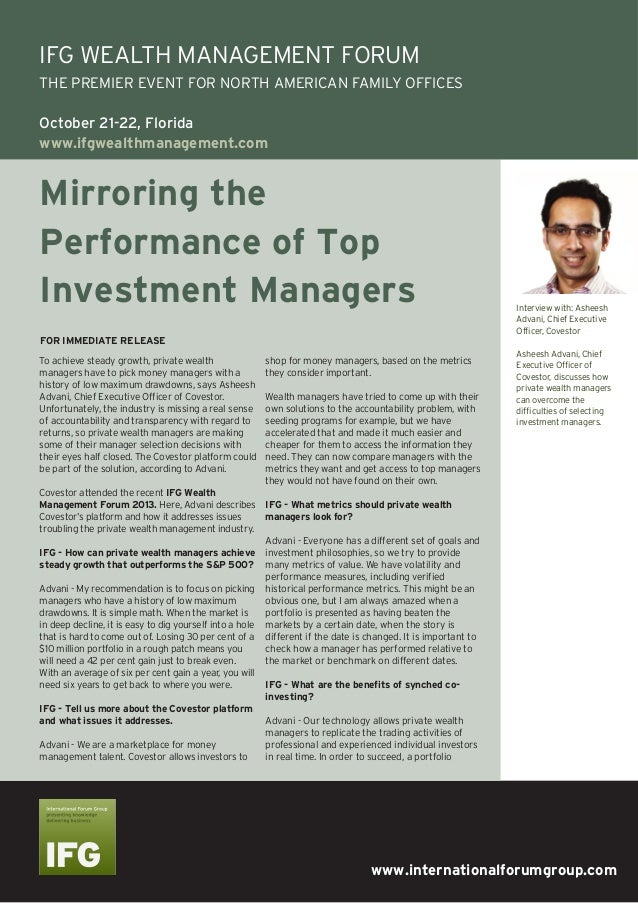 Mirroring the Performance of Top Investment ManagersInterview with: Asheesh Advani, Chief Executive Officer, Covestor