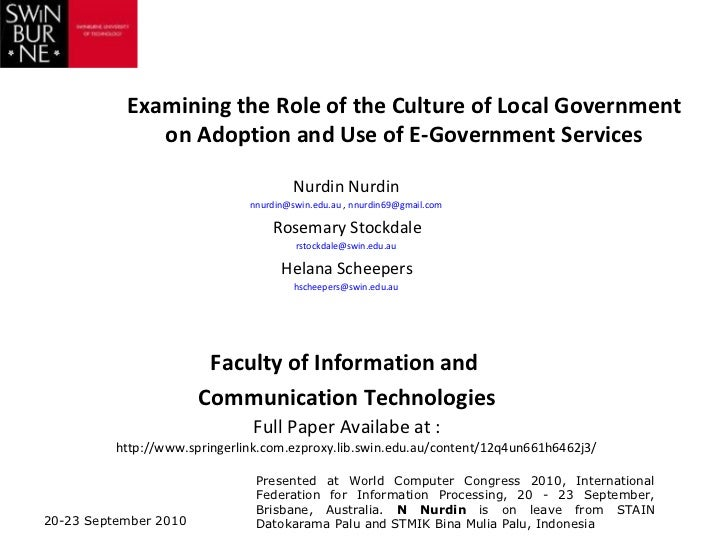 Examining the Role of the Culture of Local Government on  Adoption and Use of E-Government Services