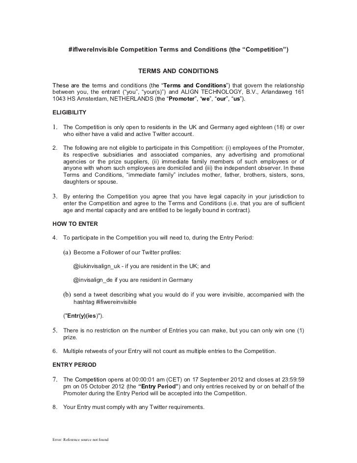 """#ifIwereInvisible Competition Terms and Conditions (the """"Competition"""")                                        TERMS AND CO..."""