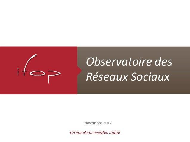 Connection creates valueObservatoire desRéseaux SociauxNovembre 2012