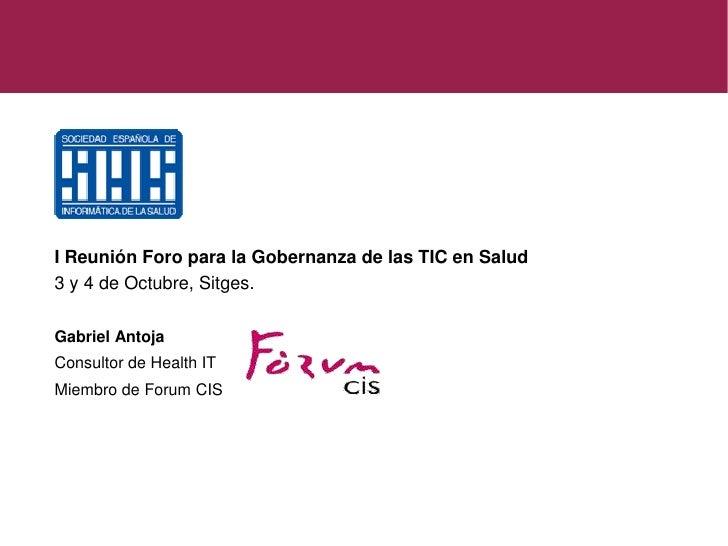 Casos de Gobernanza TI en Salud - Gabriel Antoja