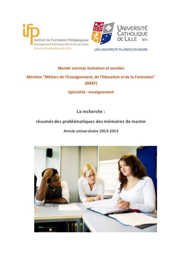 """Master sciences humaines et sociales Mention """"Métiers de l'Enseignement, de l'Education et de la Formation"""" (MEEF) Spécial..."""