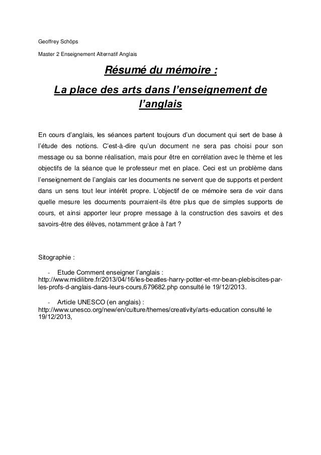 exemple de memoire master 2 enseignement