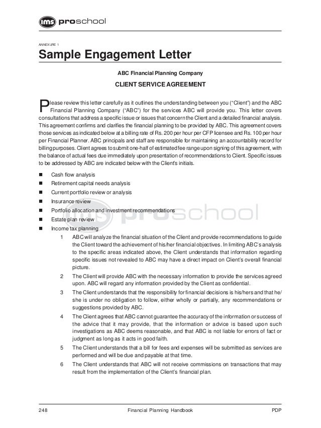 248 financial planning handbook pdpannexure 1sample engagement