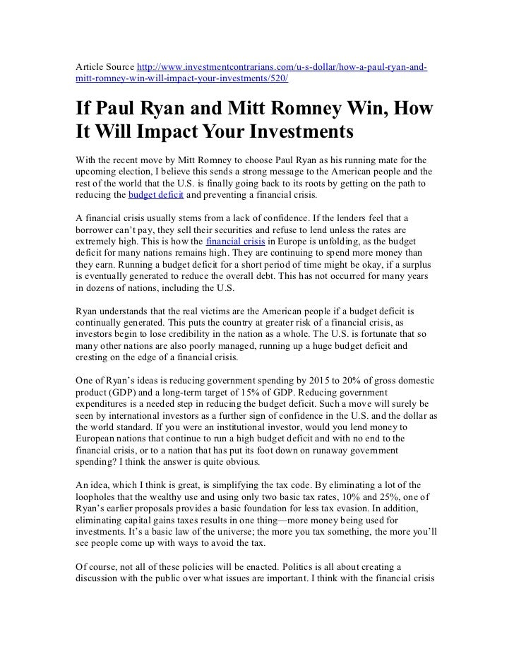 US Election 2012 News: If paul ryan and mitt romney win, how it will impact your investments