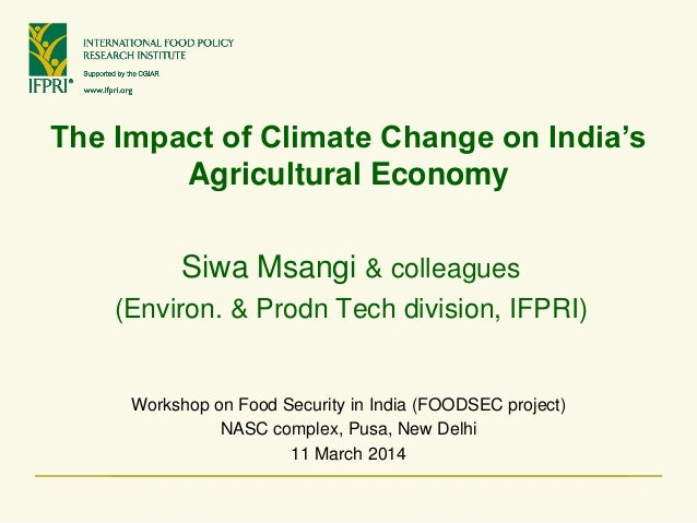 The Impact of Climate Change on India's Agricultural Economy Workshop on Food Security in India (FOODSEC project) NASC com...