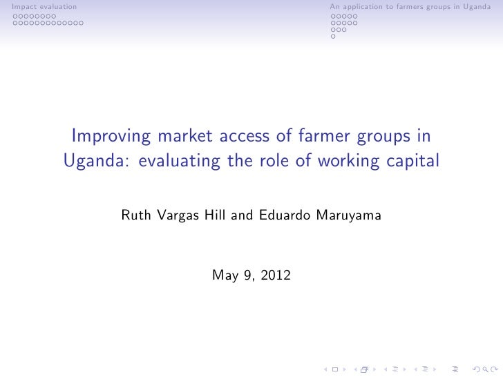 Improving market access of farmer groups in Uganda: evaluating the role of working capital