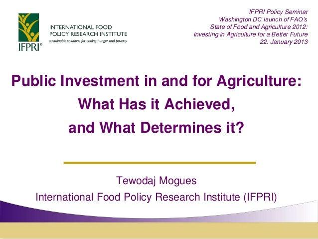 IFPRI Policy Seminar                                             Washington DC launch of FAO's                            ...