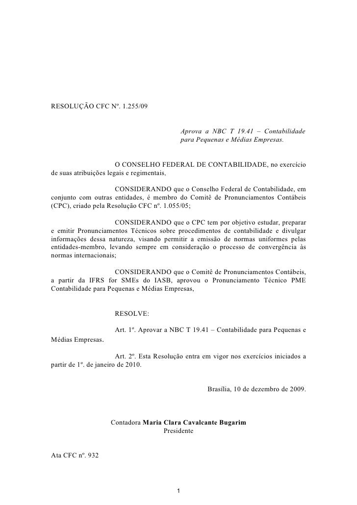 Resolução CFC Nº. 1.255/2009