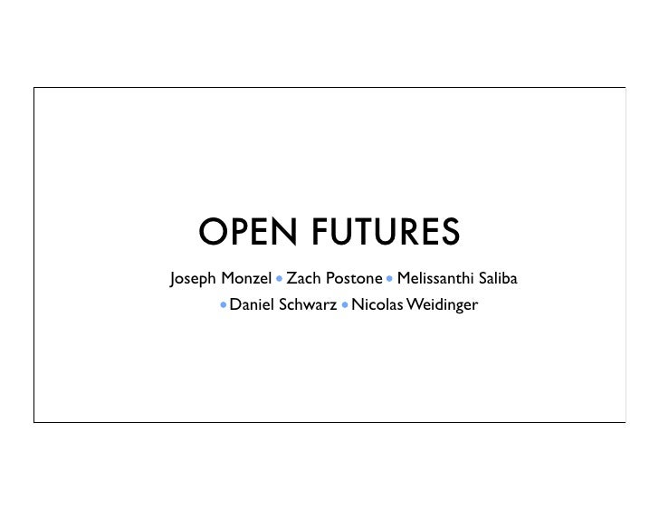 OPEN FUTURESJoseph Monzel Zach Postone Melissanthi Saliba       Daniel Schwarz Nicolas Weidinger