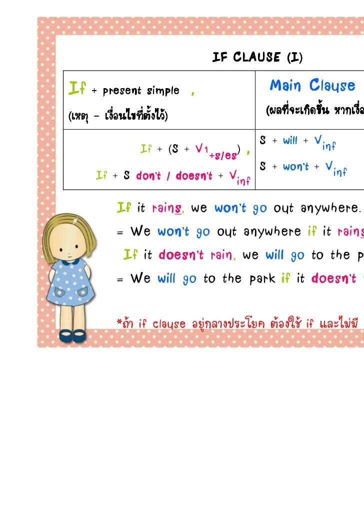 IF CLAUSE (I)If + present simple       ,              Main Clause            (Future Simple)(เหตุ - เงือนไขทีตงไว)       ...