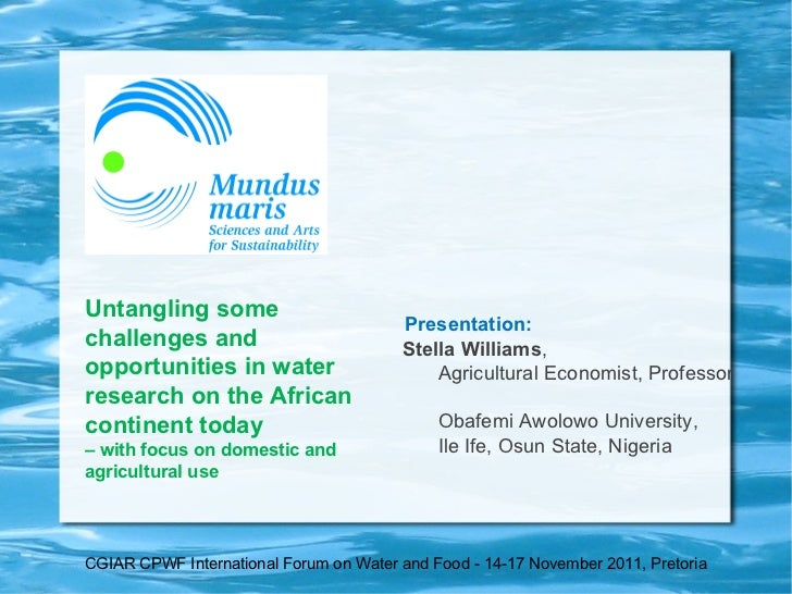 Untangling some challenges and opportunities in water research on the African continent today   – with focus on domestic a...