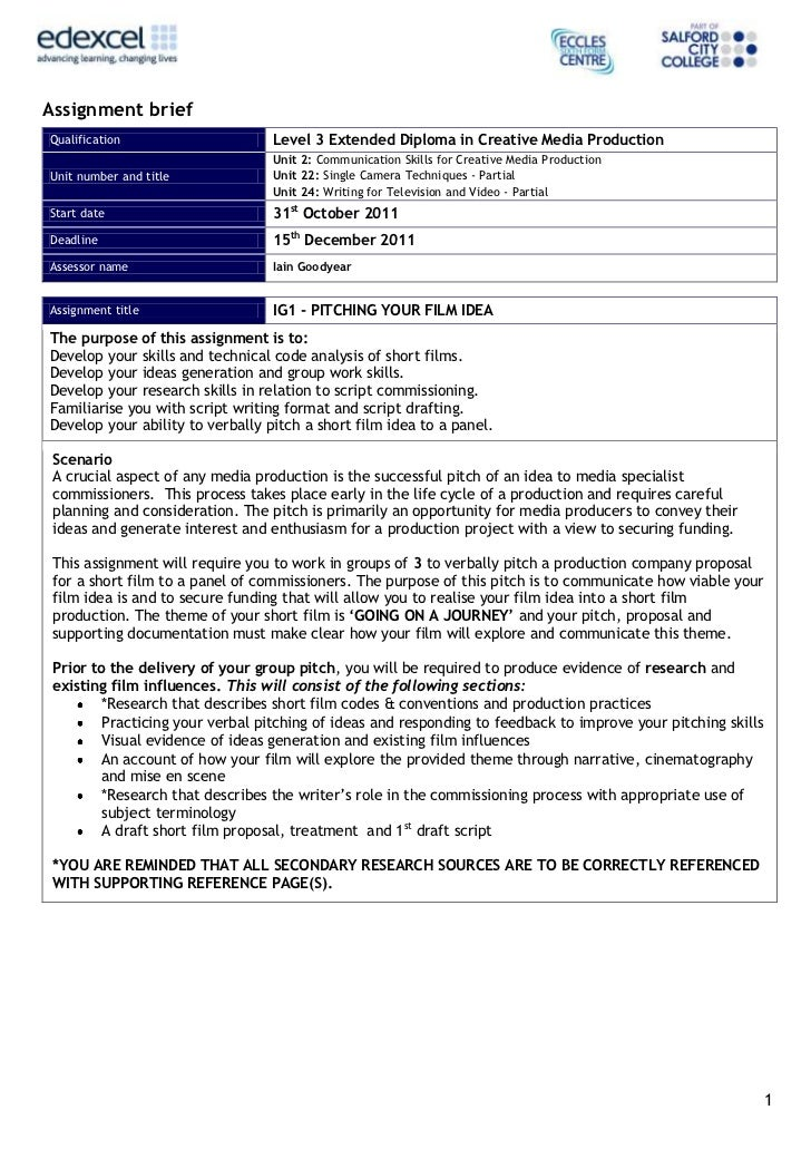 Assignment briefQualification                     Level 3 Extended Diploma in Creative Media Production                   ...