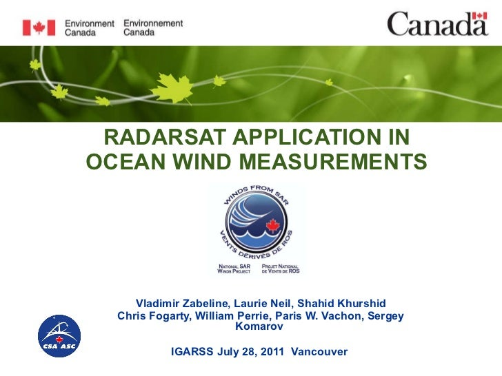 RADARSAT APPLICATION IN OCEAN WIND MEASUREMENTS Vladimir Zabeline, Laurie Neil, Shahid Khurshid Chris Fogarty, William Per...