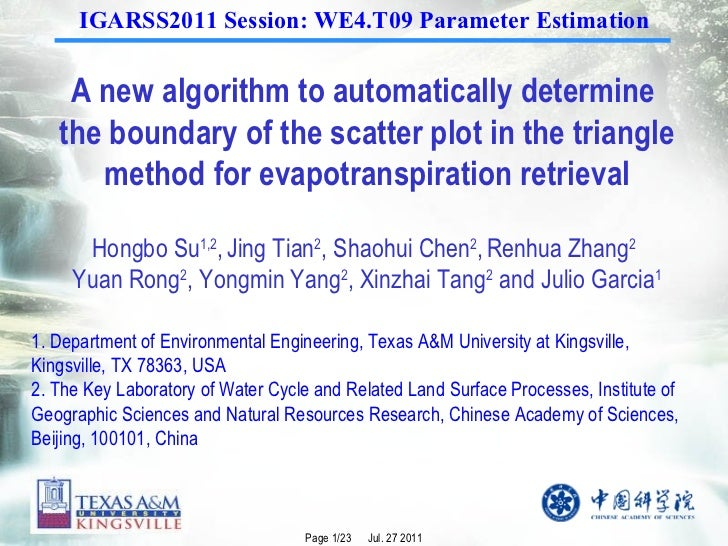 A new algorithm to automatically determine  the boundary of the scatter plot in the triangle method for evapotranspiration...