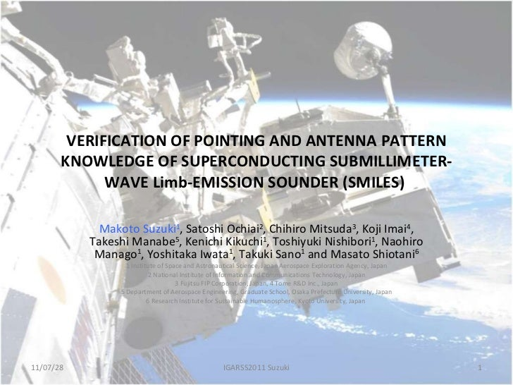 VERIFICATION OF POINTING AND ANTENNA PATTERN KNOWLEDGE OF SUPERCONDUCTING SUBMILLIMETER-WAVE Limb-EMISSION SOUNDER (SMILES...