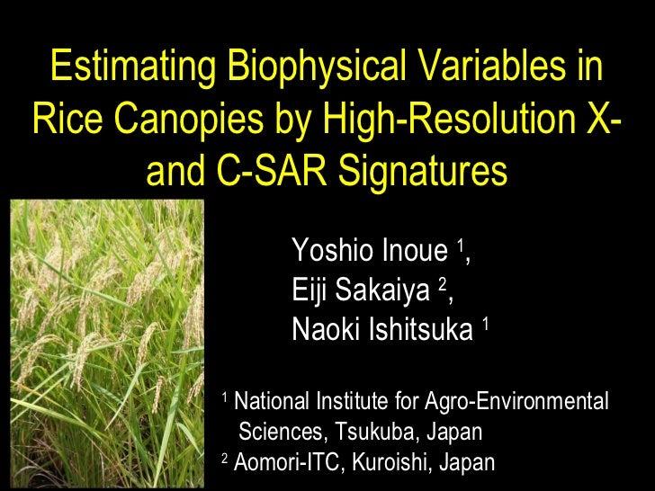 1  National Institute for Agro-Environmental  Sciences, Tsukuba, Japan 2  Aomori-ITC, Kuroishi, Japan Estimating Biophysic...