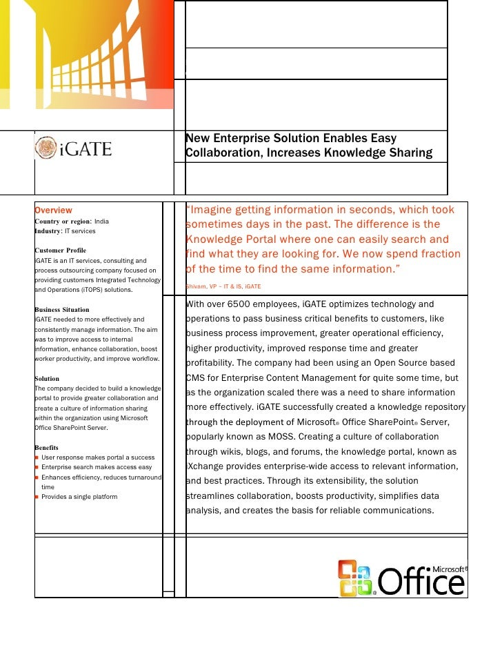Microsoft India - iGate Case Study