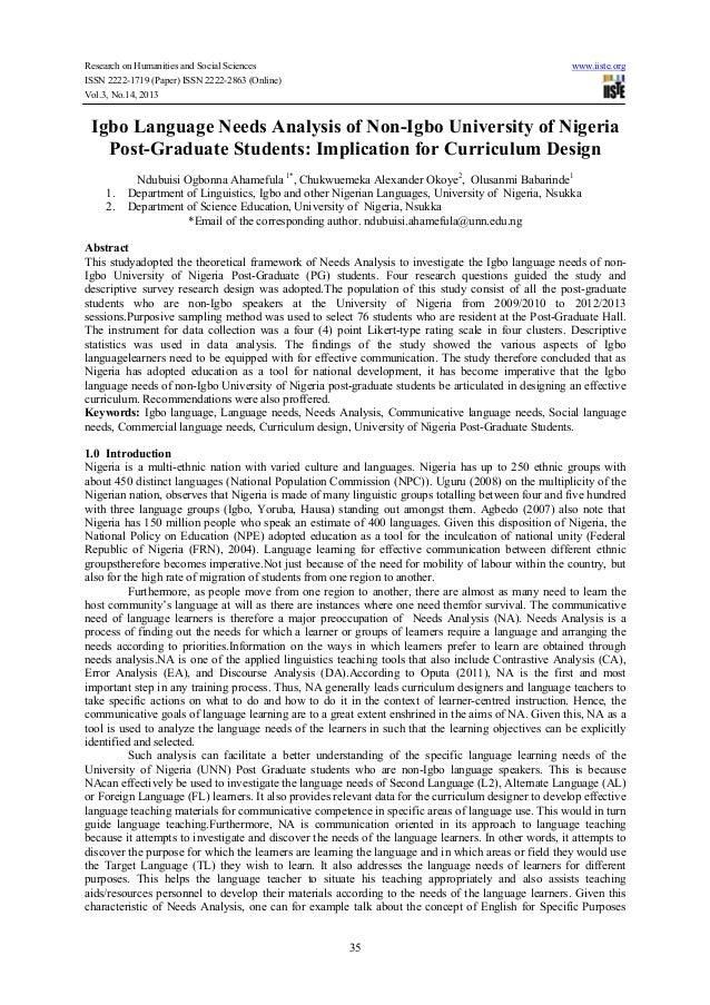 Igbo language needs analysis of non igbo university of nigeria post-graduate students-implication for curriculum design