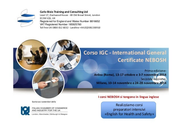 Corso International General Certificate NEBOSH in Italia, 2014