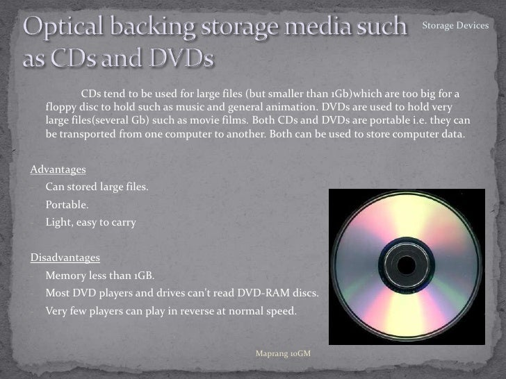 Optical backing storage media suchas CDs and DVDs<br />CDs tend to be used for large files (but smaller than 1Gb)which a...