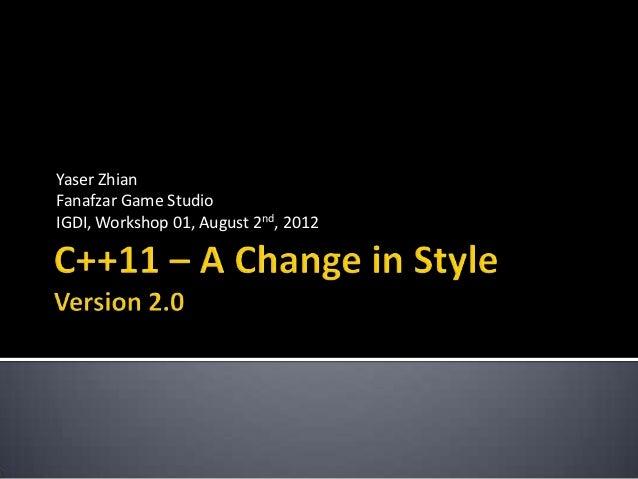 Yaser ZhianFanafzar Game StudioIGDI, Workshop 01, August 2nd, 2012
