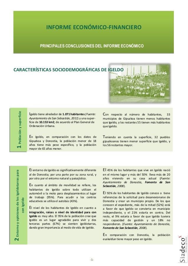 INFORME ECONÓMICO-FINANCIERO PRINCIPALES CONCLUSIONES DEL INFORME ECONÓMICO  Igeldo tiene alrededor de 1.071 habitantes (F...